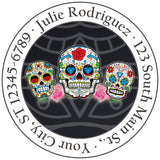 Sugar Skulls and Roses Day of the Dead Personalized Return Address Labels - The FinderThings