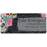 Sugar Skulls and Roses Day of the Dead Personalized Return Address Labels