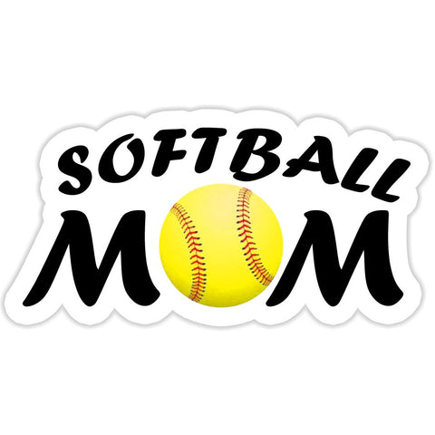 Softball Mom Sticker with Yellow Softball - The FinderThings