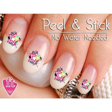 Abstract Star Splash Nail Art Decal Sticker Set - The FinderThings