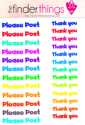 "Snail Mail Stickers 2 sheets! ""Thank you"" ""Please Post"" Scrapbooking Stickers Mail Letter Writing - The FinderThings"