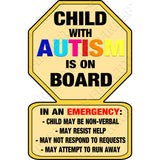 Child with Autism Car Sticker Decal - Warning First Responders Bumper Sticker