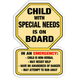 Child with Special Needs Warning Car Sticker Decal Yellow - Non Verbal Help - The FinderThings