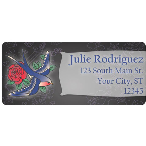 Office Office Supplies 60 Tattoo Swallow Bird Flying Personalized Return Address Labels