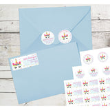 Unicorn Face Flowered Crown Unicorn Mom Personalized Return Address Labels