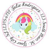 Unicorn Rainbow Crown Unicorn Face Personalized Return Address Labels - The FinderThings