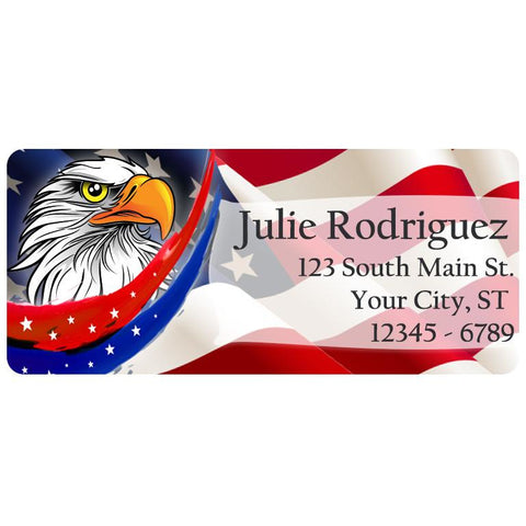 USA American Flag Eagle Stars and Stripes Personalized Return Address Labels