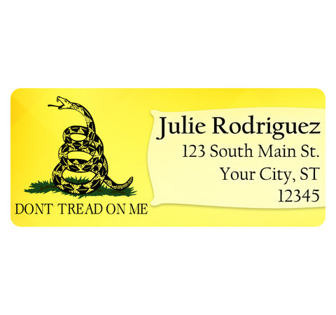 Don't Tread on Me Yellow Gadsen Flag Personalized Return Address Labels - The FinderThings