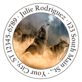 Wolf Howling at the Moon Personalized Return Address Labels - The FinderThings