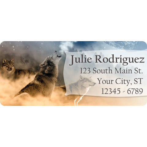 Wolf Howling at the Moon Personalized Return Address Labels