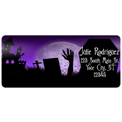 Zombie Halloween Grave Spooky Pumpkin Personalized Return Address Labels