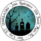 Zombie Halloween Grave Spooky Moon Personalized Return Address Labels - The FinderThings