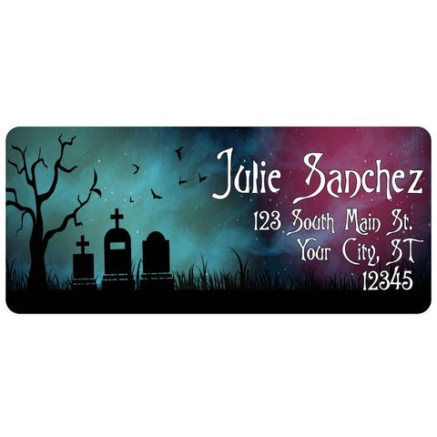 Zombie Halloween Grave Spooky Moon Personalized Return Address Labels