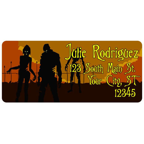 Zombie Halloween Walking Dead Spooky Moon Personalized Return Address Labels