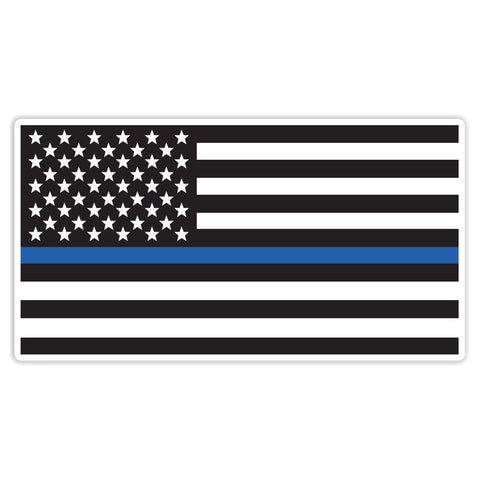 Thin Blue Line Sticker Decal - American Flag Blue Line Police Car Sticker - The FinderThings