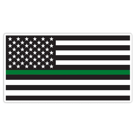 Thin Green Line Sticker Decal - American Flag Green Line Border Patrol Car Sticker - The FinderThings