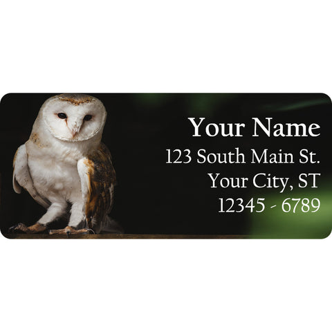 White Barn Owl Personalized Return Address Labels Barn Owls - The FinderThings
