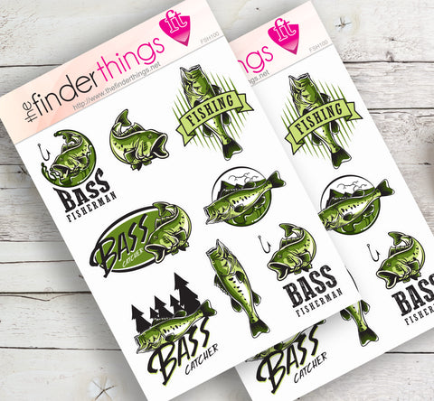 Fishing Stickers for Scrapbook, Planners, Diary, Crafts and Fun Bass Fisher - The FinderThings