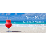 Beach Margarita Personalized Return Address Labels Red Drink on the Beach