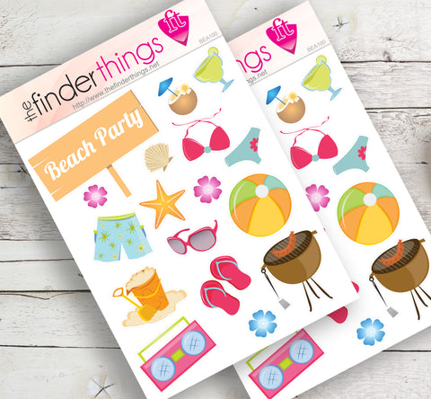 Beach Party Stickers for Scrapbook, Planners, Diary, Crafts and Fun Summer - The FinderThings