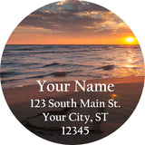 Beach and Sunset Heart Personalized Return Address Labels Drawn in Sand - The FinderThings