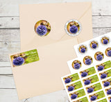 Bee and Flower Personalized Return Address Labels Purple Globe Flower Bees - The FinderThings