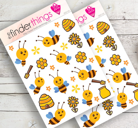 Honey Bee Stickers for Scrapbook, Planners, Diary, Crafts and Fun - The FinderThings