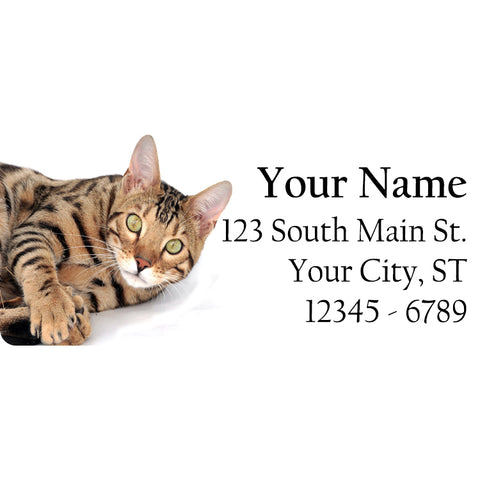 Bengal Cat Personalized Return Address Labels Cute Bengal Cat Laying Down - The FinderThings