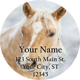 Tan and White Horse Personalized Return Address Labels Western Horse - The FinderThings