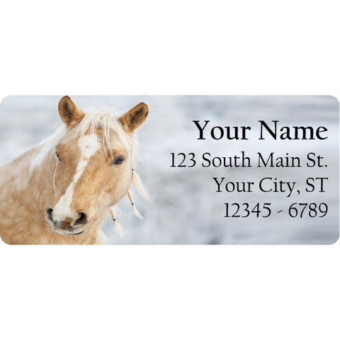 Tan and White Horse Personalized Return Address Labels Western Horse