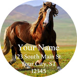 Running Beautiful Horse Personalized Return Address Labels in Countryside - The FinderThings