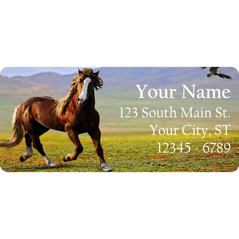 Running Beautiful Horse Personalized Return Address Labels in Countryside