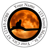 Moonlight Cat Personalized Return Address Labels w/Cat Howling at the Moon - The FinderThings