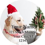 Christmas Hat Labrador Personalized Return Address Labels Cute Lab Dog - The FinderThings