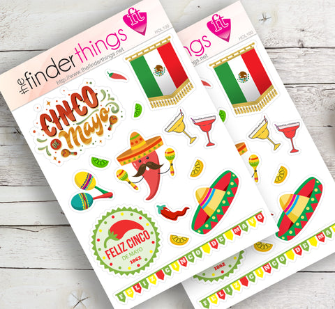 Cinco de Mayo Stickers for Scrapbook, Planners, and Fun - The FinderThings