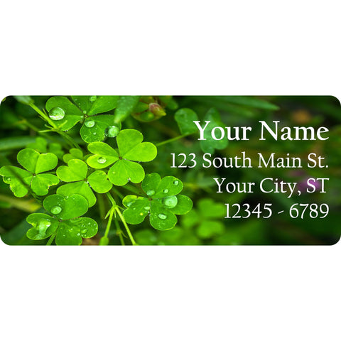 Shamrocks and Clovers Personalized Return Address Labels St. Patrick's Day