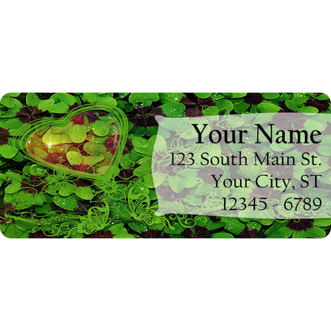 Shamrock and Clover Patch Personalized Return Address Labels for St. Patrick's Day