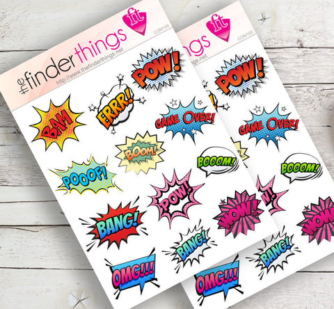 Comic Book Phrases Sayings Stickers for Scrapbook, Planners, and Fun
