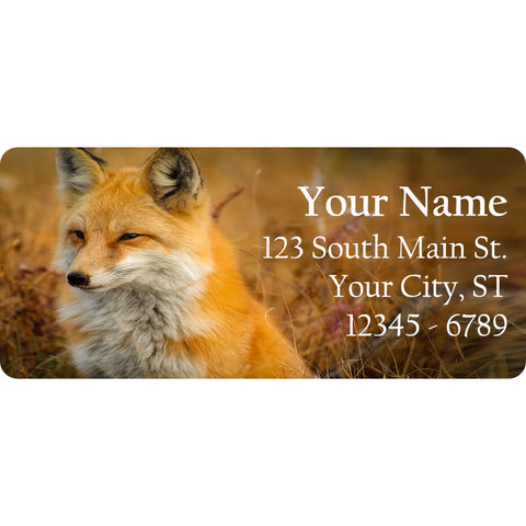 Fox Personalized Return Address Labels Thinking Fox & Foxes in Meadow