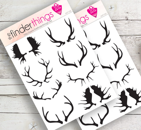 Deer Moose Antler Stickers for Scrapbook, Planners, and Fun - The FinderThings