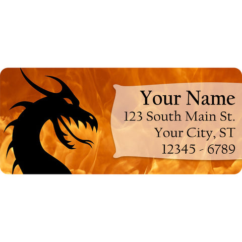 Fire Dragon Personalized Return Address Labels Flames with Dragons - The FinderThings