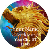 Chinese Dragon Personalized Return Address Labels Colorful Dragon