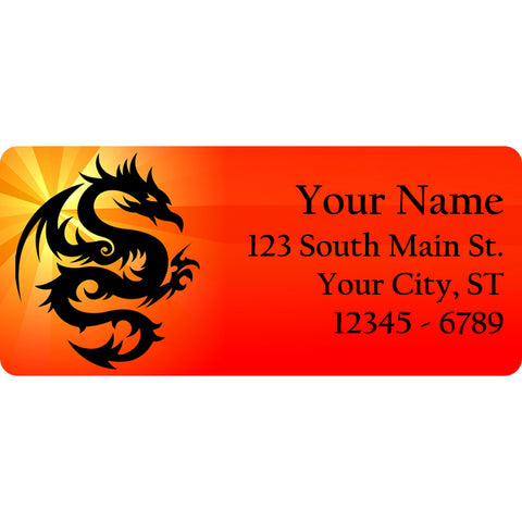 Tribal Fire Dragon Personalized Return Address Labels Dragons