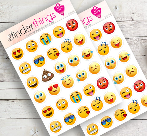 Emoji Faces Stickers for Scrapbook, Planners, and Fun - The FinderThings