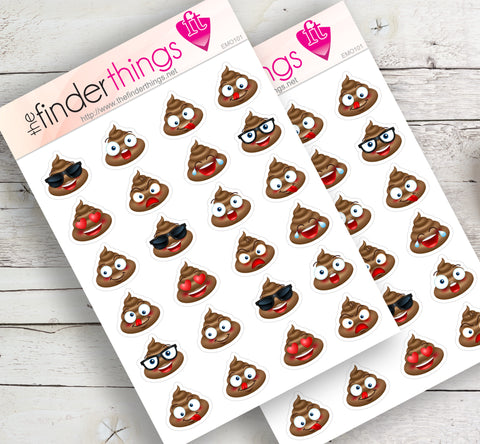 Poop Emoji Faces Stickers for Scrapbook, Planners, and Fun - The FinderThings