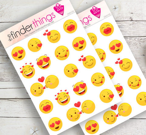 Emoji Lovers Kiss and Hearts Stickers for Scrapbook, Planners, and Fun - The FinderThings