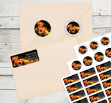 Flaming Horse Horse Personalized Return Address Labels Fiery Horse Mustang - The FinderThings