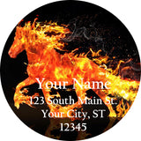 Flaming Horse Horse Personalized Return Address Labels Fiery Horse Mustang