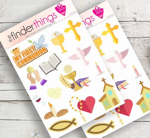 First Holy Communion Stickers for Scrapbook, Planners, Diary, Crafts and Fun Catholic