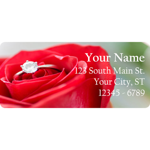 Red Rose and Diamond Ring Personalized Return Address Labels Wedding Ring